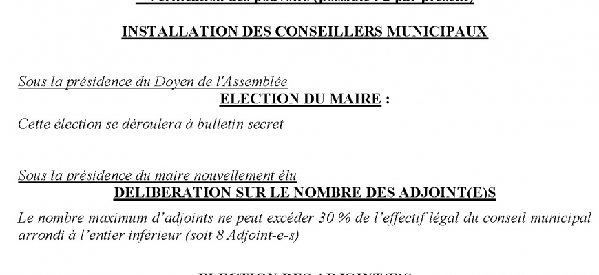 Conseil Municipal d'installation 25 Mai 2020