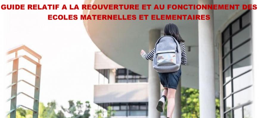 Réouverture des écoles - Le protocole sanitaire